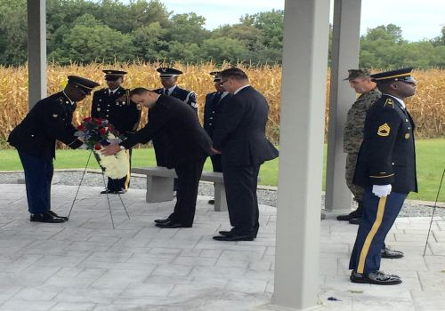 Camp Fretterd Military Reservation (September 20, 2015): Mr. Adnan Hadrovic, Charge d' Affaires a.i. along with Mr. Davor Vucic, Defence Attaché and Mr. Marinko Avramovic, Counselor has laid wreath at the Maryland National Guard Fallen Warrior Memorial, on behalf of the Embassy of Bosnia and Herzegovina to the USA.