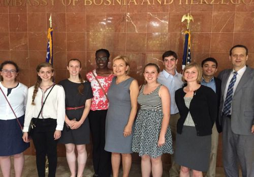 Embassy (June 16, 2015): HE Ambassador of BiH Jadranka Negodic met with US students YES program at the Embassy after their return from BiH